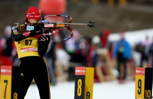 Kati Wilhelm of Germany shoots during the Women 7,5 km sprint of the IBU Biathlon World Campionships on February 14, 2009 in Pyeonchang, South Korea. (Photo by Martin Rose/Getty Images)