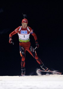 Ole Einar Bjoerndalen of Norway takes 1st place during the IBU Biathlon World Championships Men's Pursuit event on February 15, 2009 in Pyeong Chang, Korea. (Photo by Agence Zoom/Getty Images)